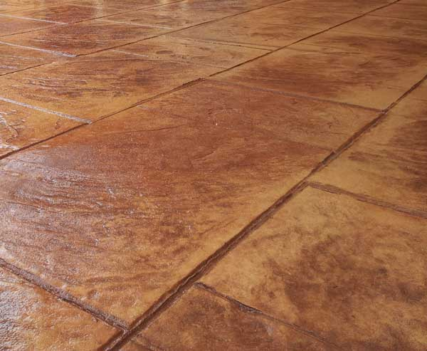 Stamped Concrete Flooring : Coloured or plain concrete floors and decorative stamped